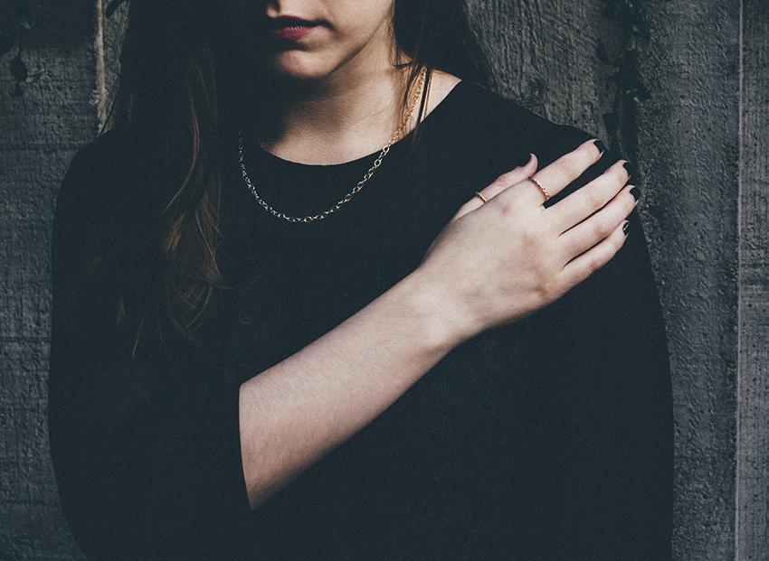 Masha Moon Jewelry - Luna White Necklace, Nina Ring, and Uli Ring on Julia of Style and Cheek. Photo by Philip Woolridge