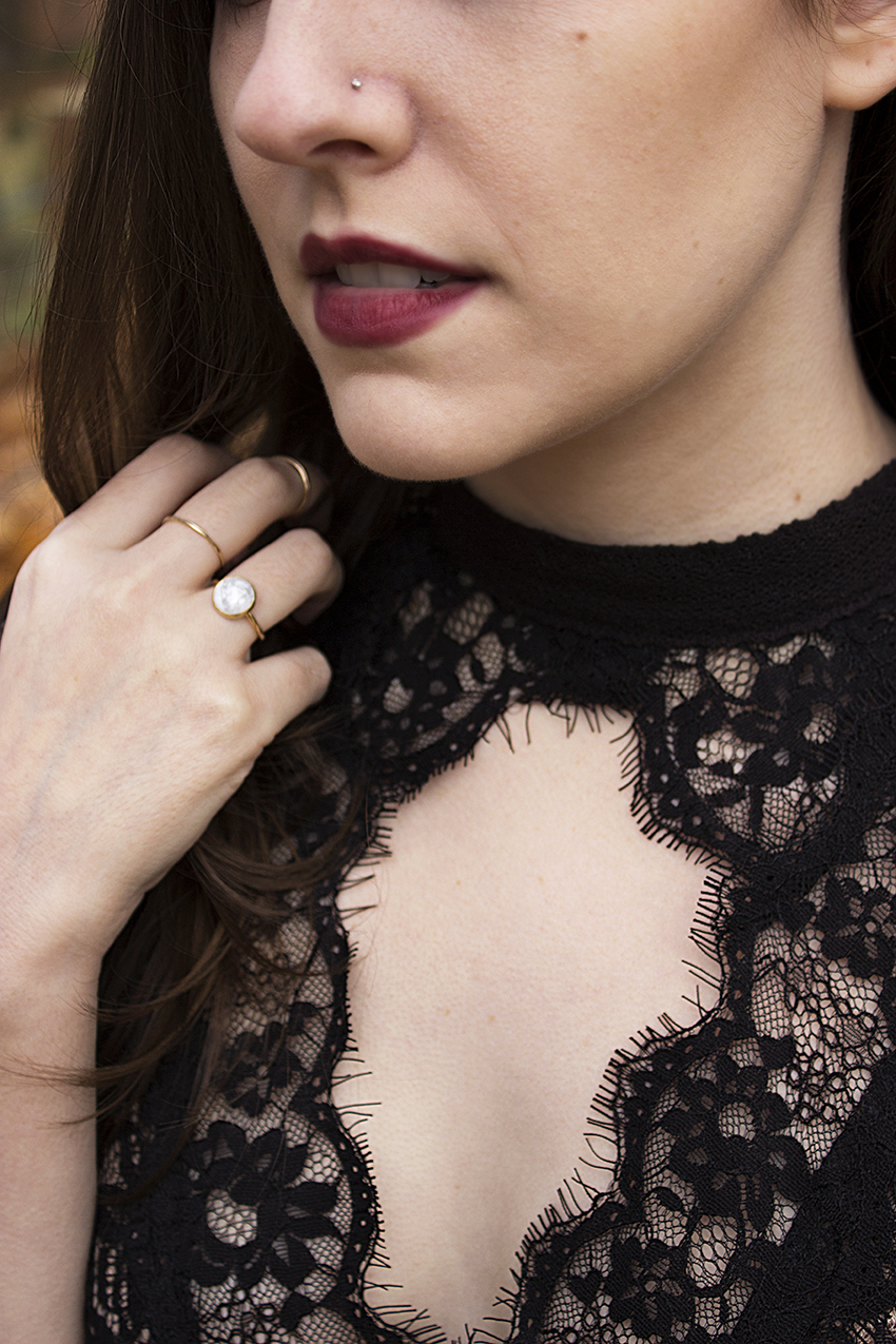 Moorea Seal Super Moon Ring and Classic Stacking Ring, Free People Secret Origins Pieced Lace Tunic | Witchy Outfit Post