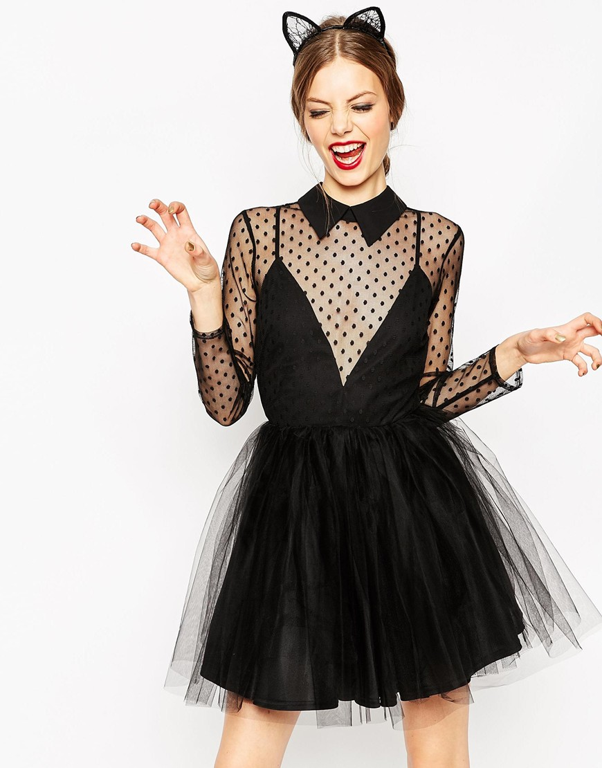ASOS Lace Netted Prom Mini Skater Dress | Sexy New Year's Eve Dresses