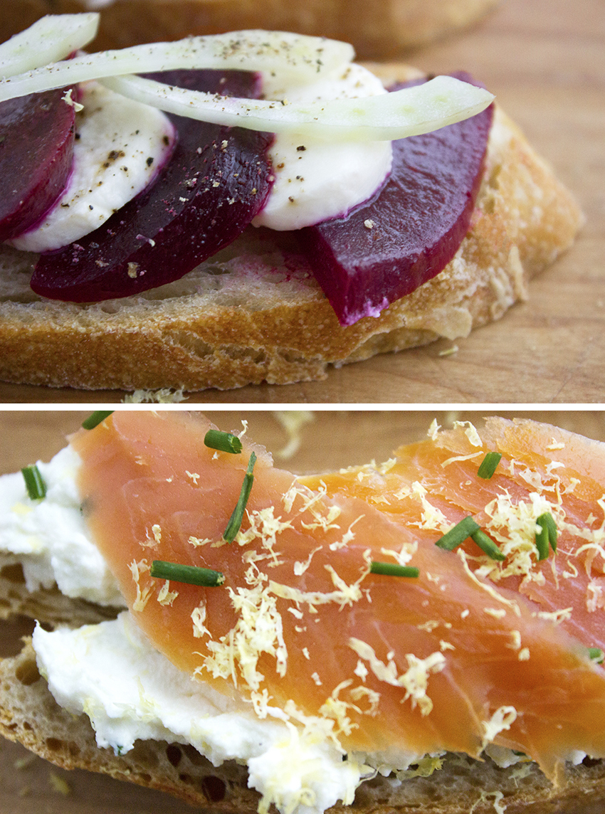 Beets, Mozzarella and Fennel Crostini and Smoked Salmon and Lemon Chive Riccotta | Winter Crostini with Style and Cheek