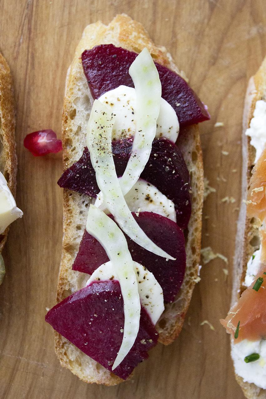 Beets, Mozzarella, and Fennel Crostini | Winter Crostini with Style and Cheek