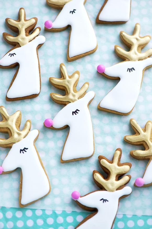 Gilded Reindeer and Santa Cookies | Sweetapolita | Christmas Cookies