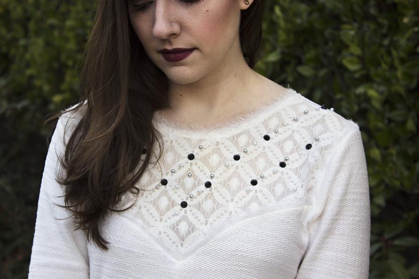 Low key NYE outfit Zara sweater close up