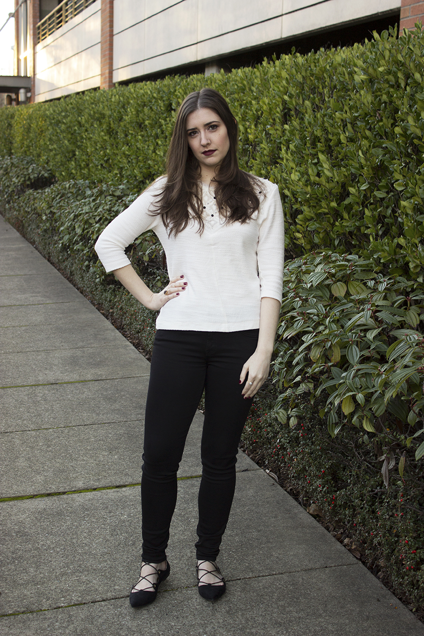 Low key NYE outfit - Zara Sweater, Moorea Seal Karu Indra Flat