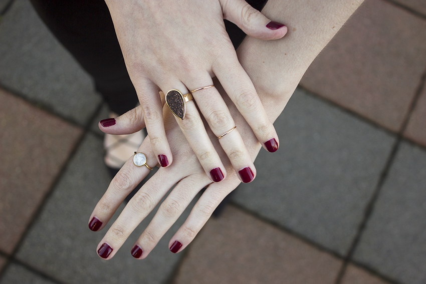 Low key NYE outfit: Moorea Seal Stardust Quartz Ring, Super Moon Ring, and Classic Stacking Rings