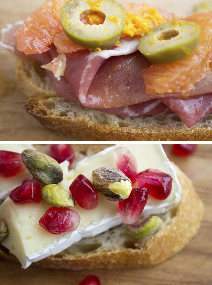 Prosciutto, Olives, and Orange Crostini and Brie, Pistachio, and Pomegranate Crostini | Winter Crostini with Style and Cheek