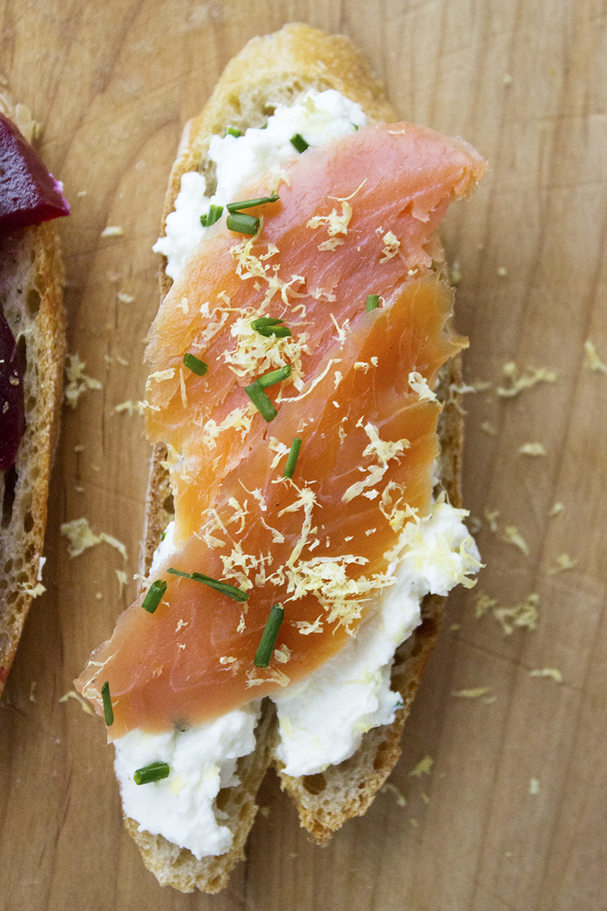 Smoked Salmon and Lemon Chive Riccotta | Winter Crostini with Style and Cheek