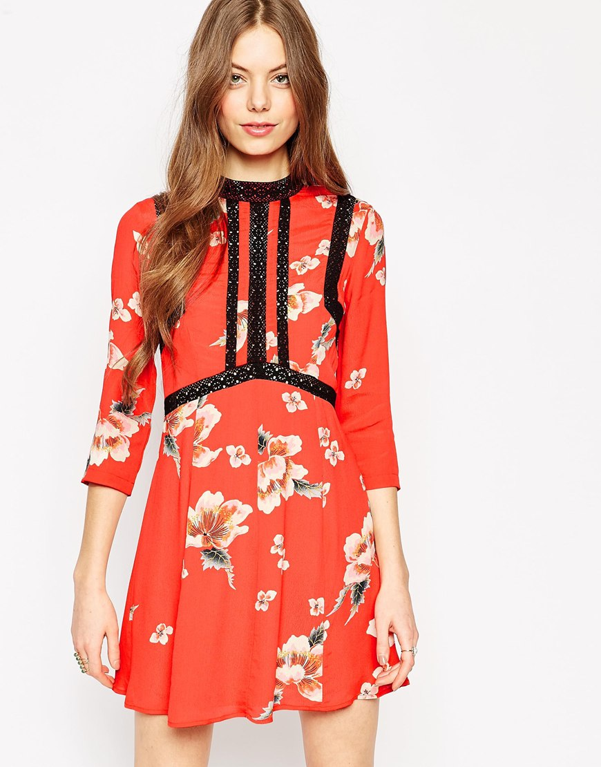 Short and Flirty Valentine's Day Dresses - ASOS Premium Floral Printed Dress with Ladder Inserts