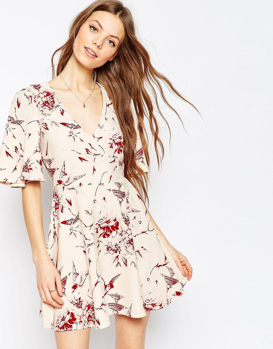 Short and Flirty Valentine's Day Dresses - ASOS Skater Dress in Wallpaper and Bird Print