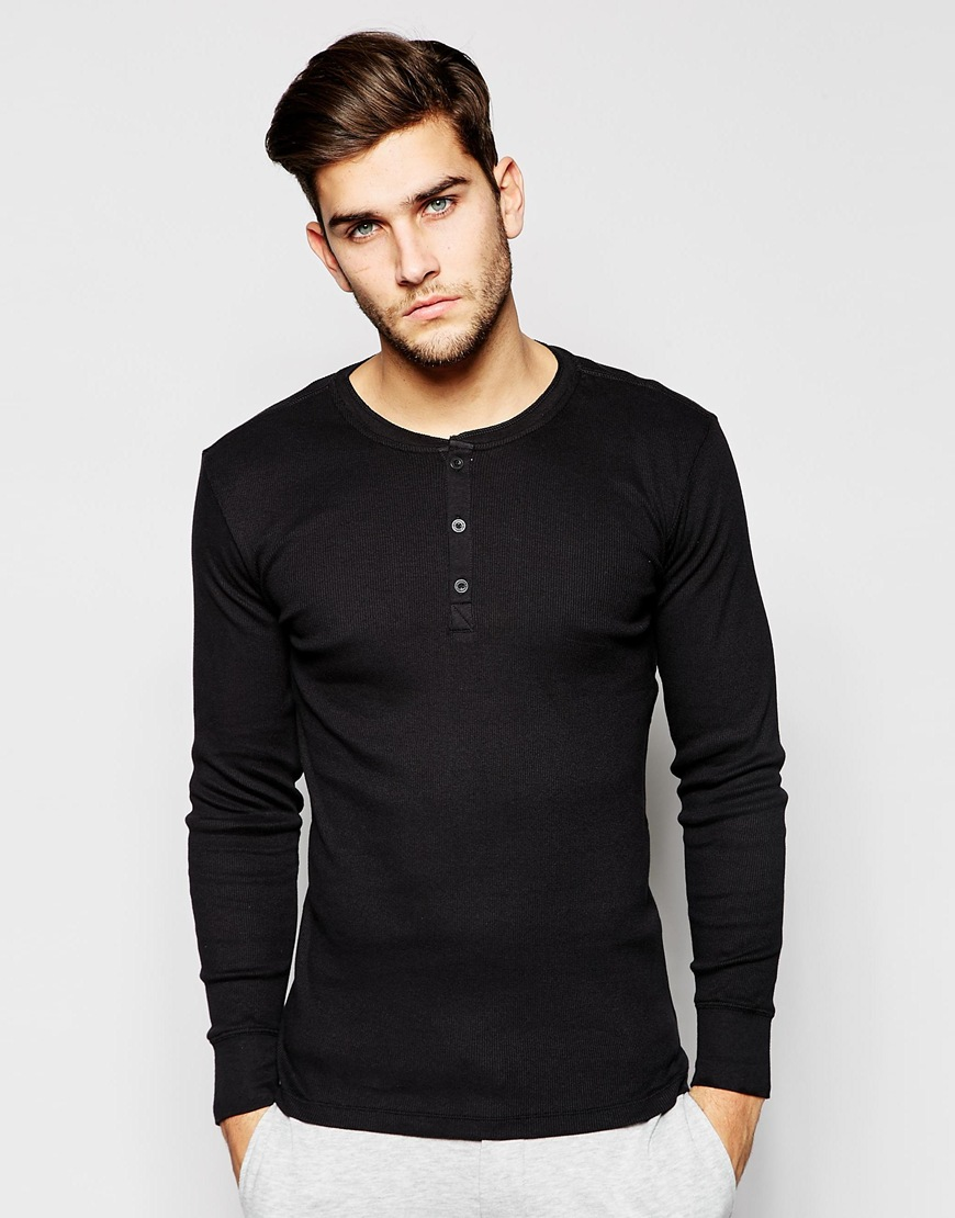 Levi's Henley Long Sleeve T-Shirt In Fitted Fit   Mens Henleys Under 50
