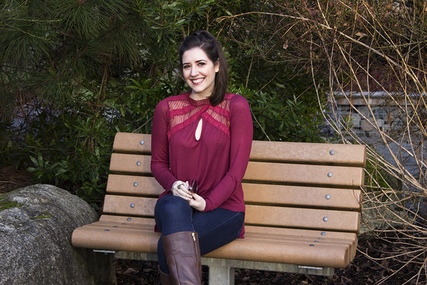 Red Winter Outfit Free People New Romantics Ruby Jane Tee