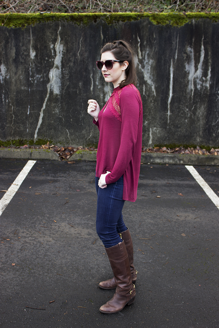 Red Winter Outfit Katrine Sunglasses in Deep Red, Free People New Romantics Ruby Jane Tee