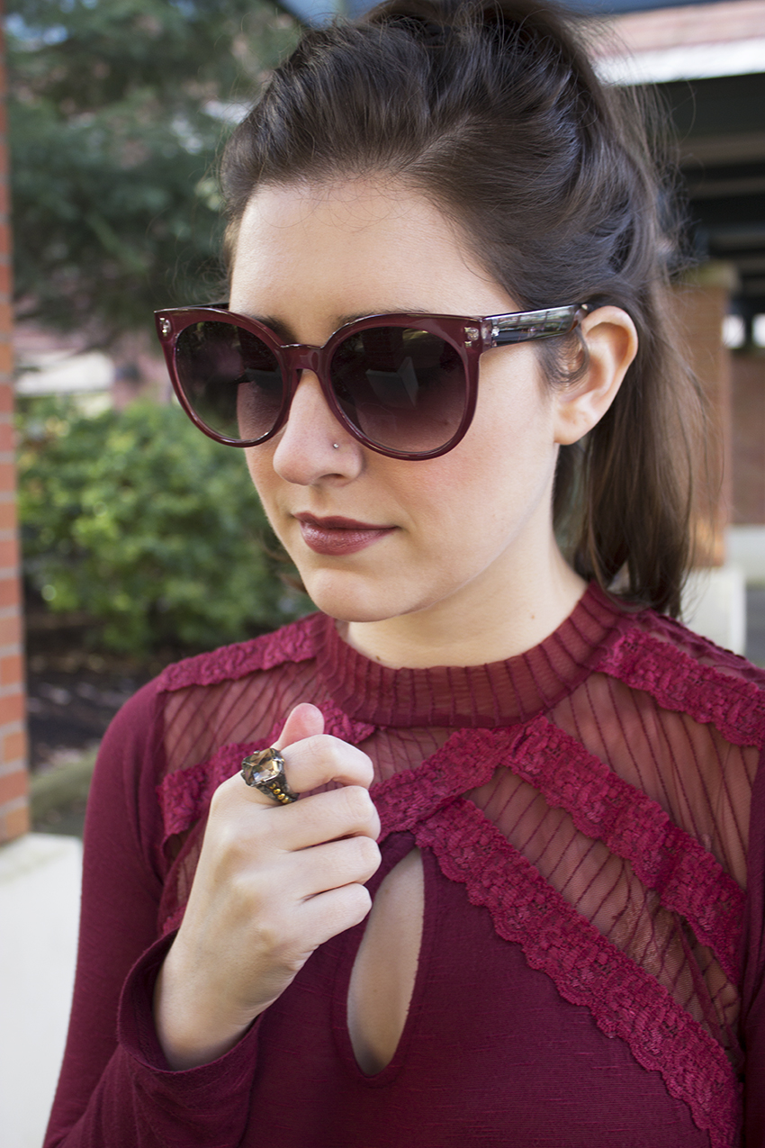 Red Winter Outfit Katrine Sunglasses in Deep Red, Magic Woman Ring, Free People New Romantics Ruby Jane Tee