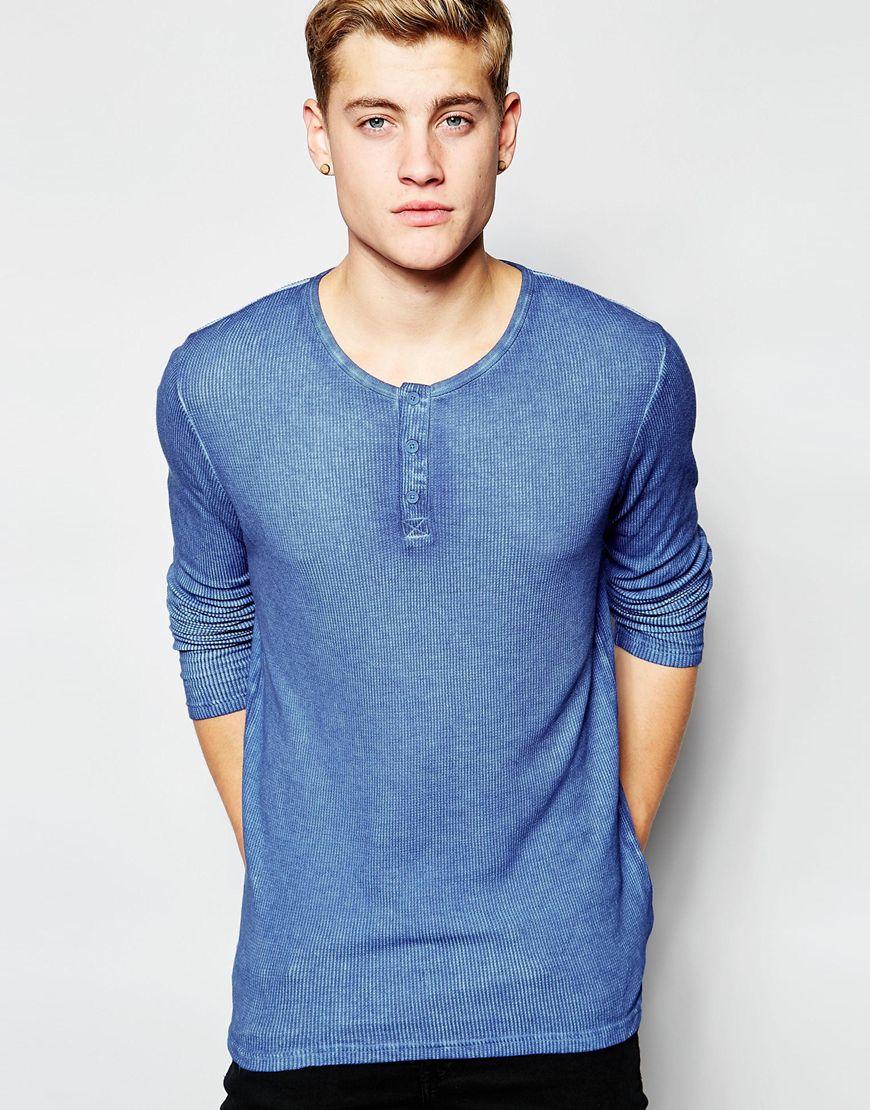 Solid Henley Long Sleeve T-Shirt | Mens Henleys Under 50
