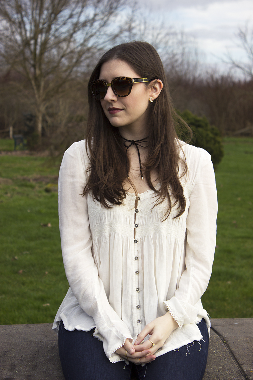 Boho Choker Outfit Karlie Sunglasses, Hidden Eclipse Earrings, Georgie Ribbon Collar from Moorea Seal, Free People Blue Bird Smocked Top