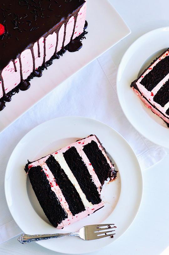 Decadent Raspberry Desserts - Dark Chocolate & Raspberry Buttercream Cake with Ganache Drizzle   Sweetapolita