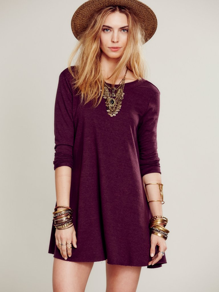 10 T-Shirt Dresses to Wear with a Leather Jacket - Free People Beatnik Tunic