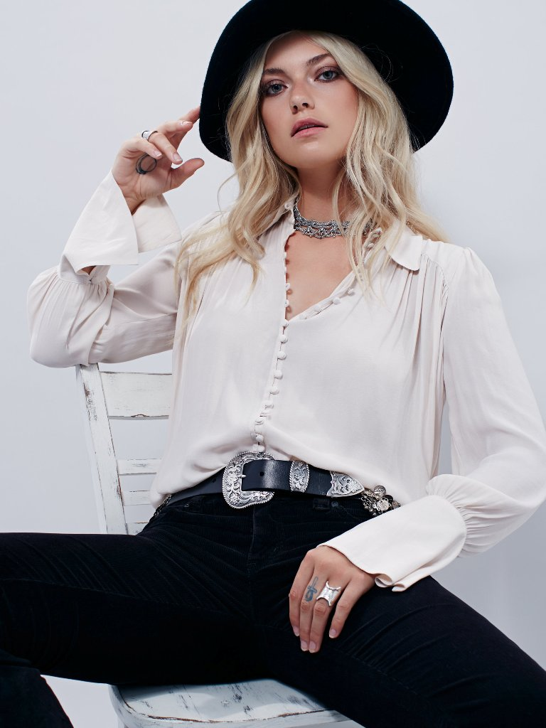 Romantic Free People Blouses - Free People Modern Muse Tie Front Top