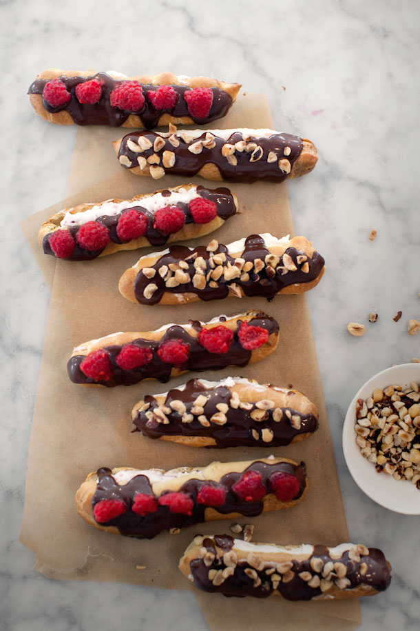 Decadent Raspberry Desserts - Hazelnut & Raspberry Éclairs | Camille Styles