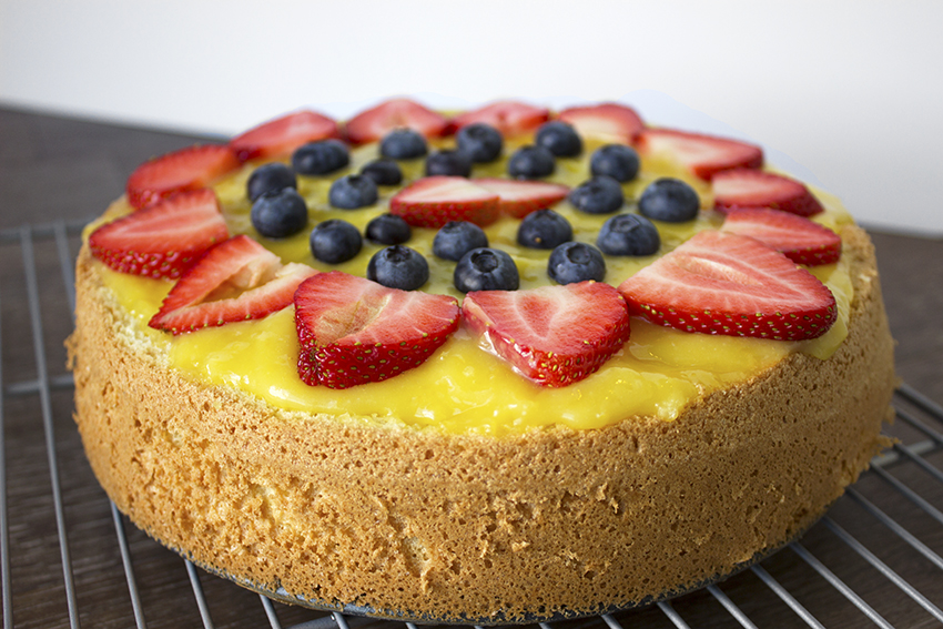 Italian Sponge Cake with Lemon Curd layer one with fruit