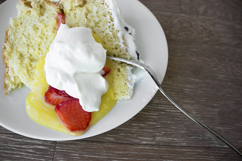 Italian Sponge Cake with Lemon Curd piece of cake