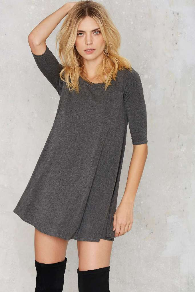10 T-Shirt Dresses to Wear with a Leather Jacket - Nasty Gal Two Live Crew Neck Dress