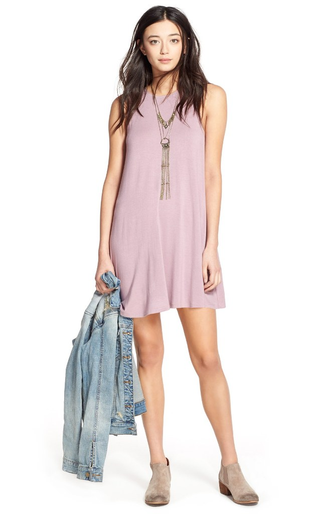 10 T-Shirt Dresses to Wear with a Leather Jacket - Socialite High Neck Dress