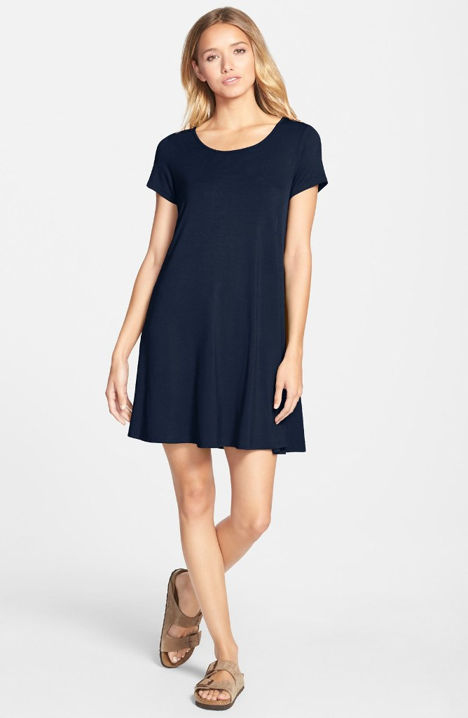 10 T-Shirt Dresses to Wear with a Leather Jacket - Socialite Knit Swing Dress