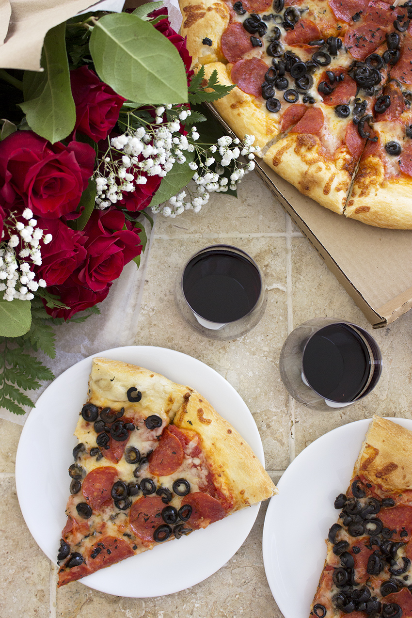 Whole Foods Whole Trade Double Dozen Red Roses, pizza, and wine Low Key Valentine's Day with Style and Cheek 2