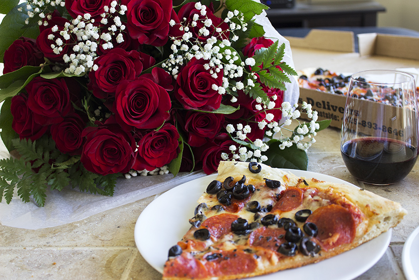 Whole Foods Whole Trade Double Dozen Red Roses, pizza, and wine Low Key Valentine's Day with Style and Cheek 3