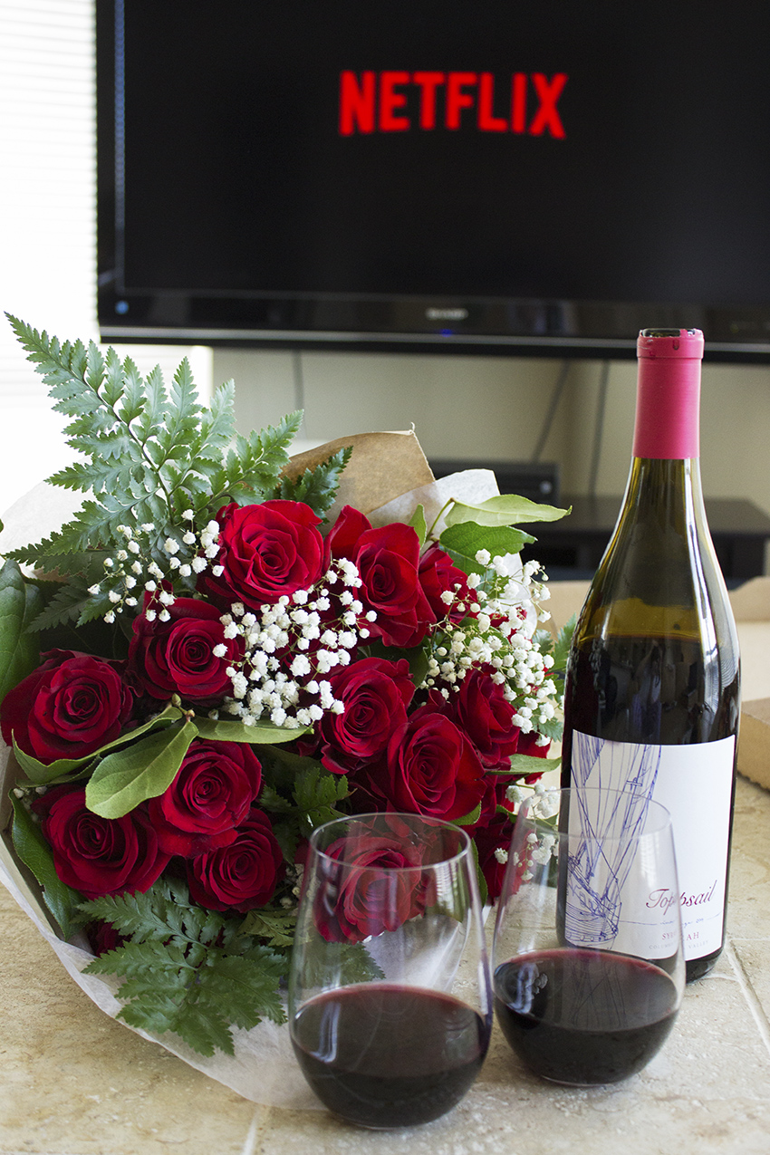 Whole Foods Whole Trade Double Dozen Red Roses, wine, and Netflix Low Key Valentine's Day with Style and Cheek