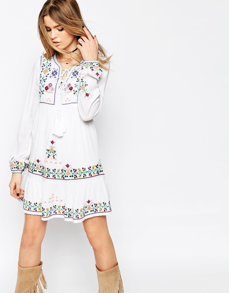 10 Perfect White Vacation Dresses - ASOS PREMIUM Embroidered Tassel Mini Dress