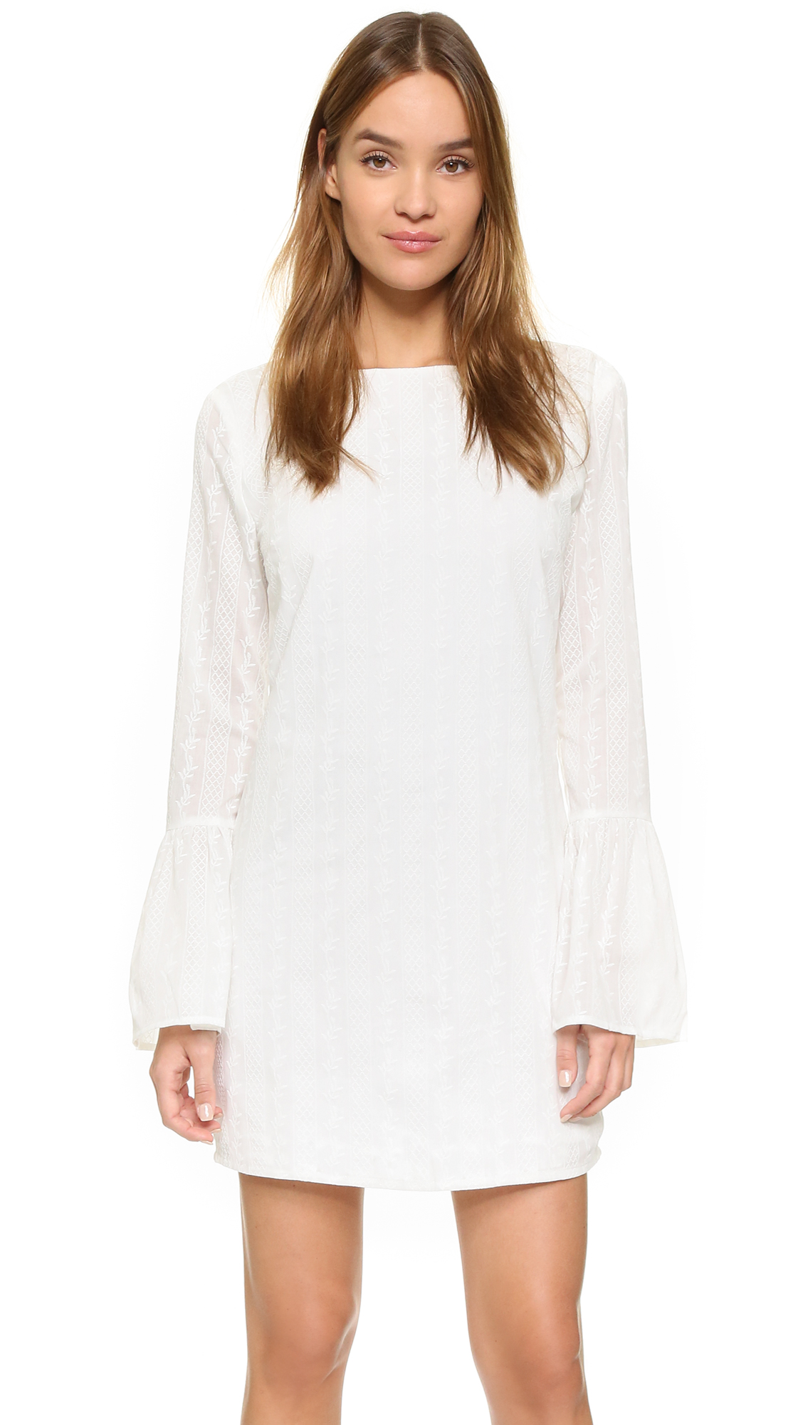 10 Perfect White Vacation Dresses - English Factory Flare Sleeve Mini Dress