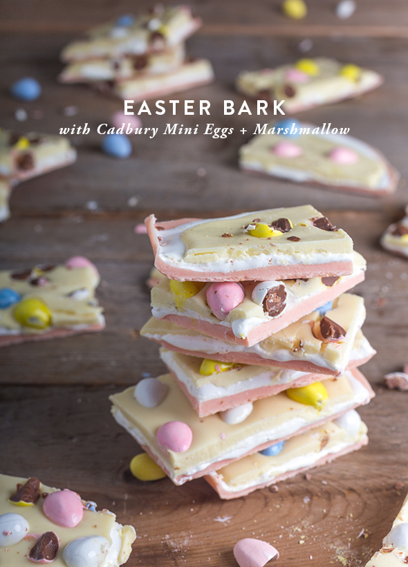 Pinterest Picks - Easter Ideas - Easter Bark with Cadbury Mini Eggs + Marshmallow | Say Yes