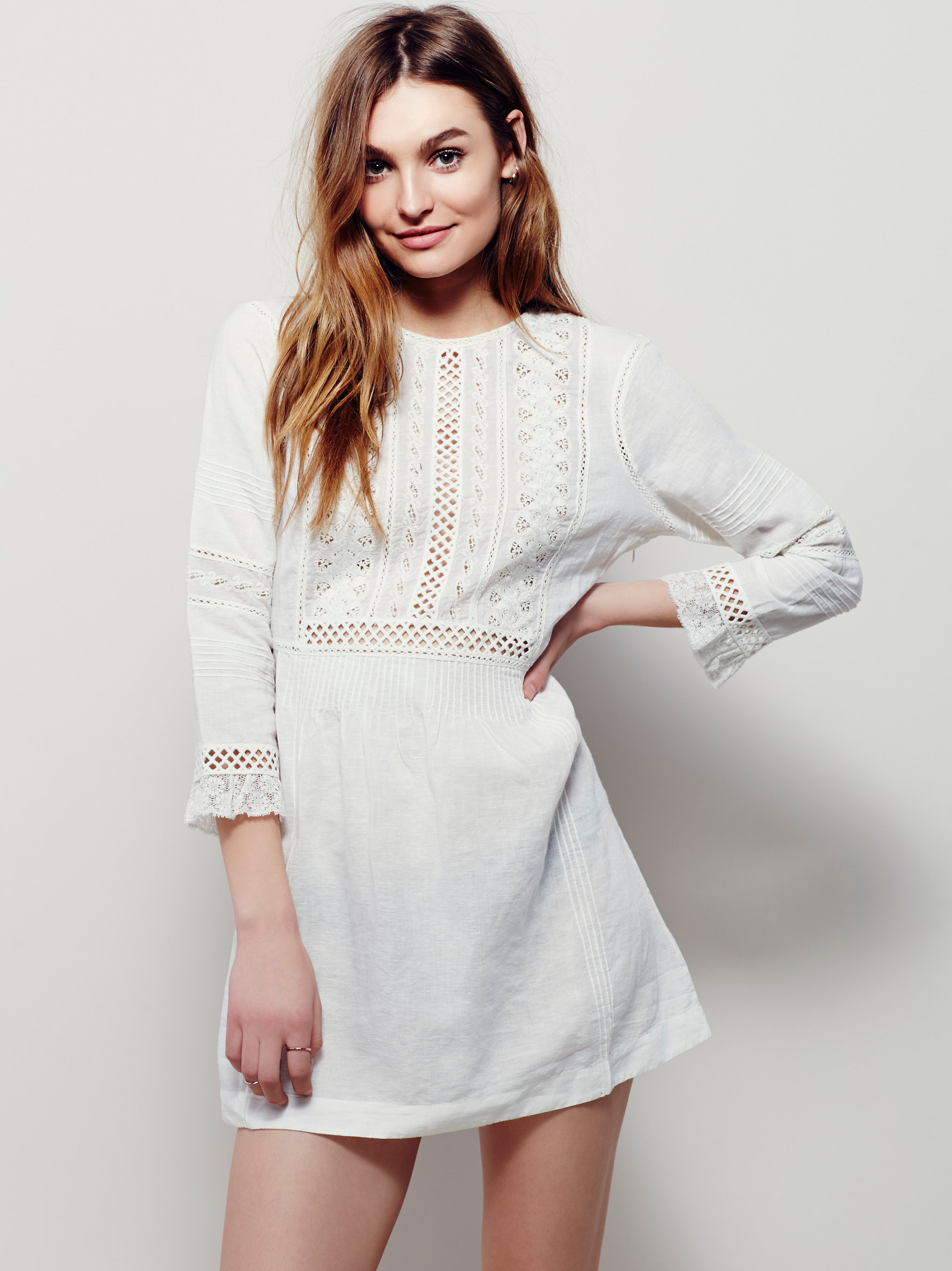 10 Perfect White Vacation Dresses - Free People Little Wings Lace Tunic