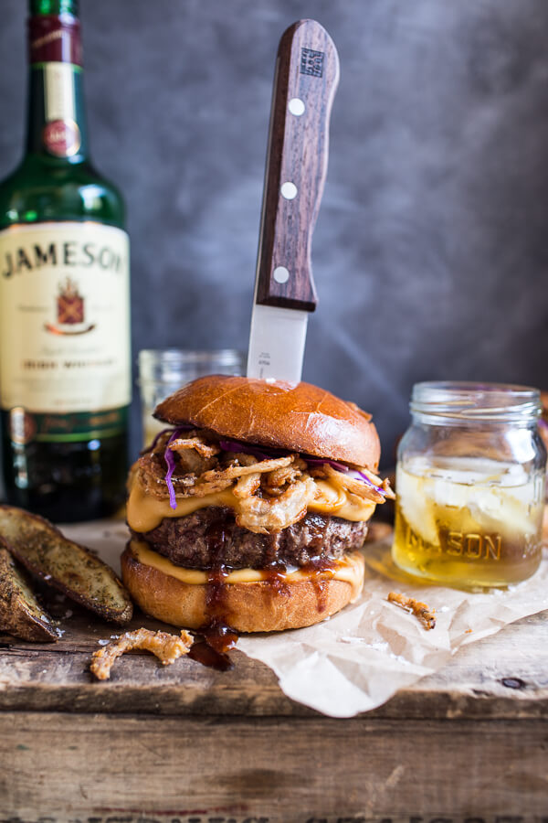 8 Savory Guinness Recipes - Jameson Whiskey Blue Cheese Burger with Guinness Cheese Sauce + Crispy Onions | Half Baked Harvest