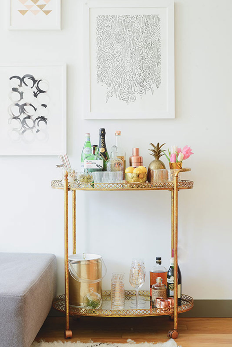 Bar Cart Inspiration - Kellee Khalil's NYC Apartment Tour | The Everygirl