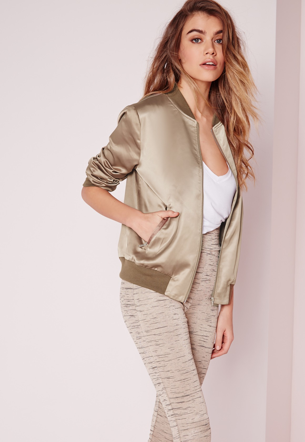 Bomber Jackets for Spring - Missguided Contrast Rib Satin Bomber Jacket Khaki