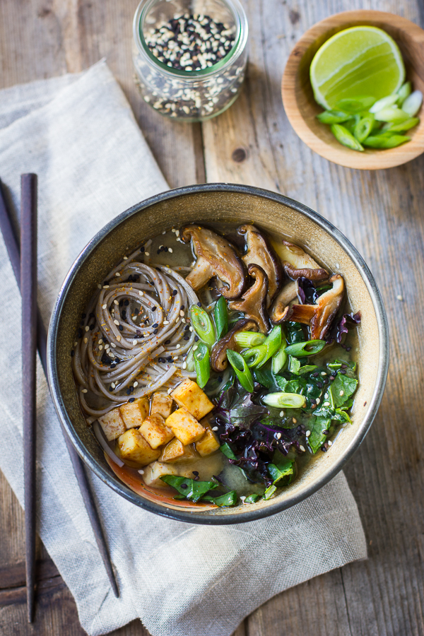 Six Delicious Vegan Recipes - Miso and Soba Noodle Soup with Roasted Sriracha Tofu and Shiitake Mushrooms | The Bojon Gourmet