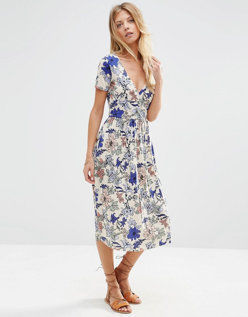 Pretty Wrap Dresses for Spring Flings - ASOS Wrap Midi Dress with Pleats in Floral Print