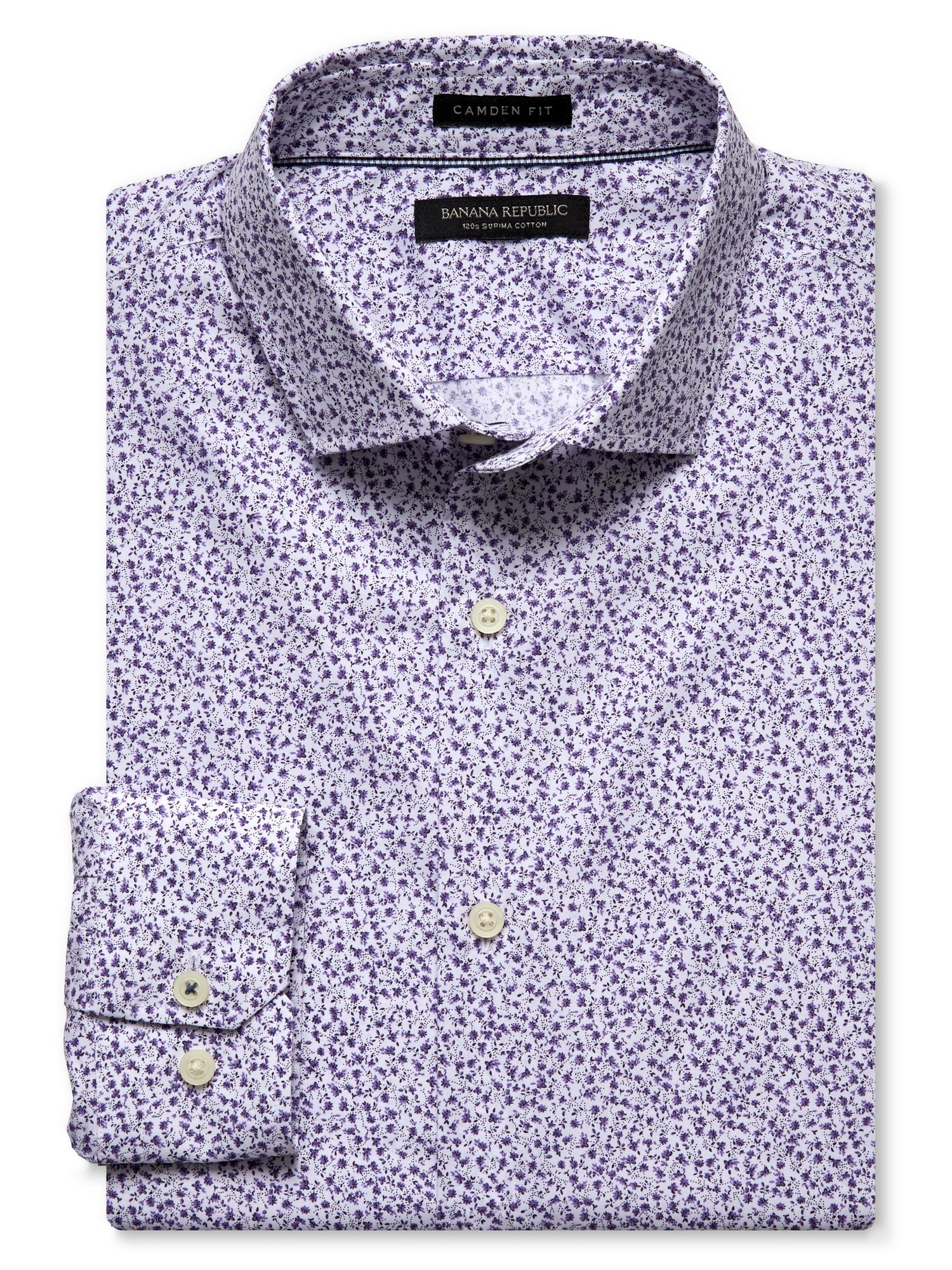 Floral Prints for Guys - Banana Republic Camden-Fit Purple Floral 120s Supima Cotton Shirt