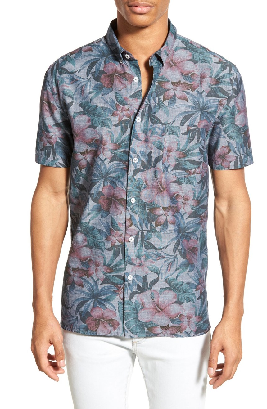 Floral Prints for Guys - Barney Cools 'Lisse' Trim Fit Short Sleeve Floral Print Chambray Shirt