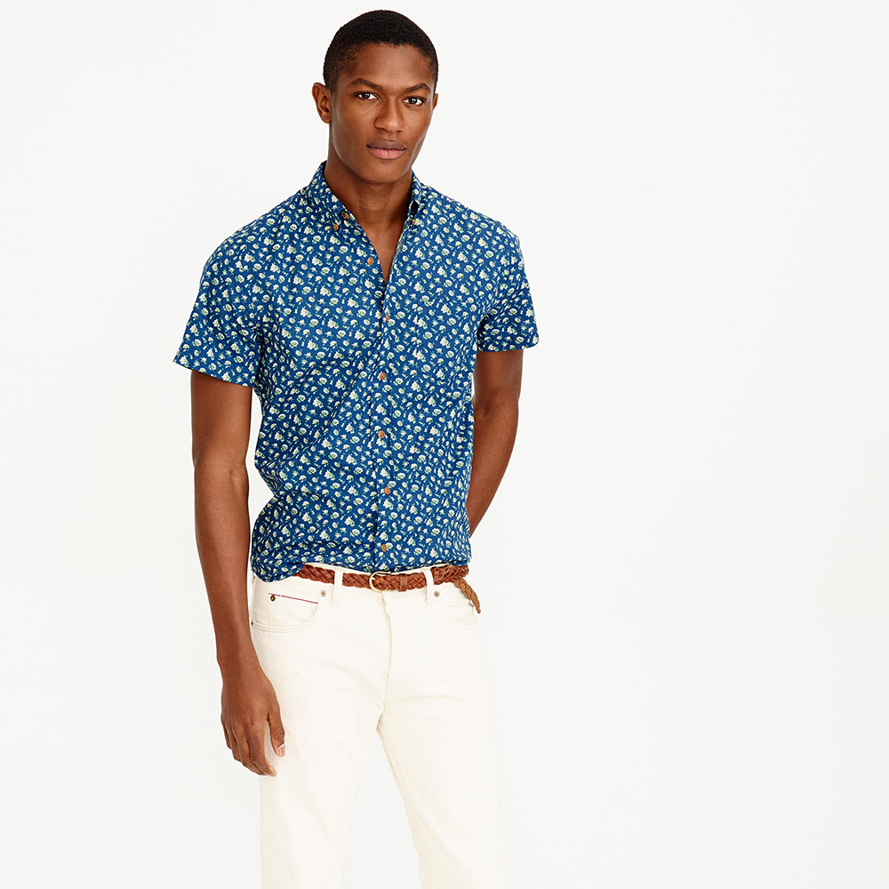 Floral Prints for Guys - J.Crew Short-Sleeve Shirt in Navy Floral