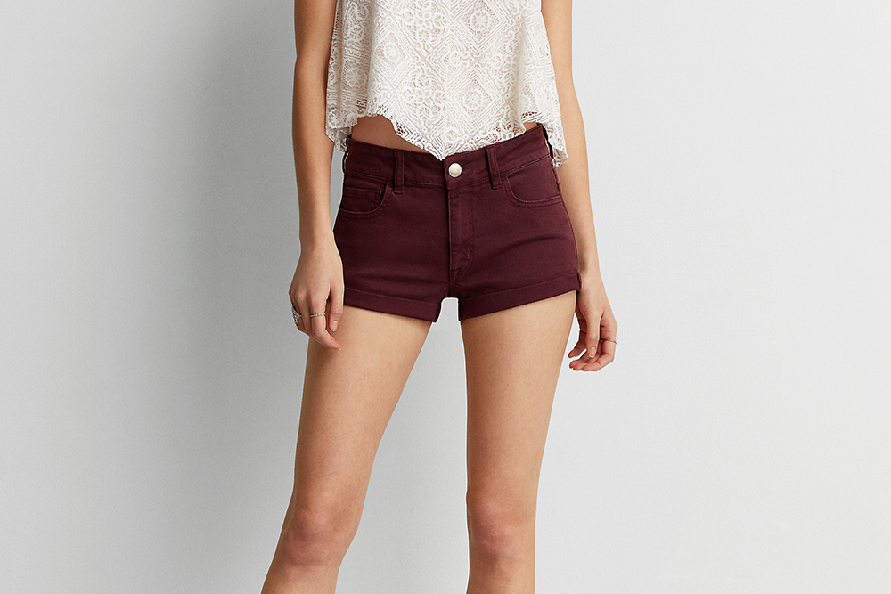 AEO Denim X Hi-Rise Shortie in Summer Burgundy - Shorts Shopping