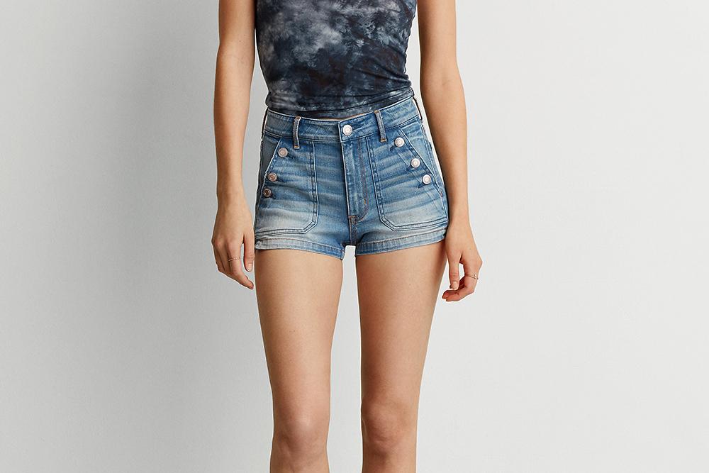 AEO Super Hi-Rise Shortie in Sail Away - Shorts Shopping