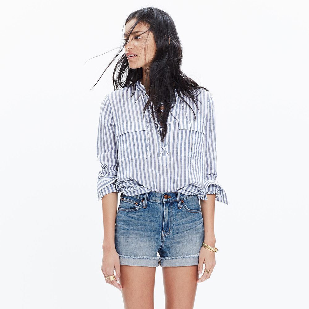 Madewell High-Rise Denim Boyshorts in Bo Wash - Shorts Shopping