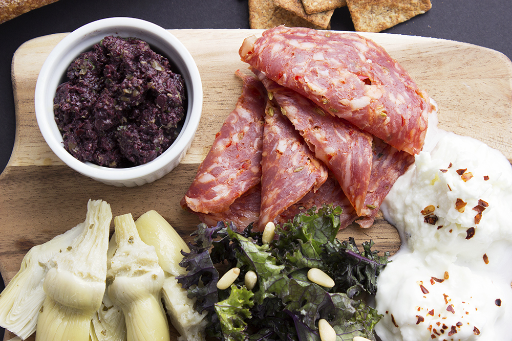 Spring Snack Board with Olive Tapenade