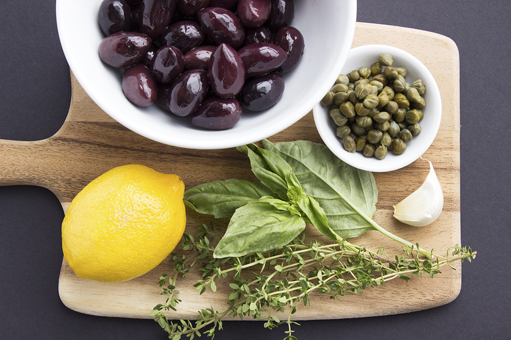Spring Snack Board with Olive Tapenade ingredients