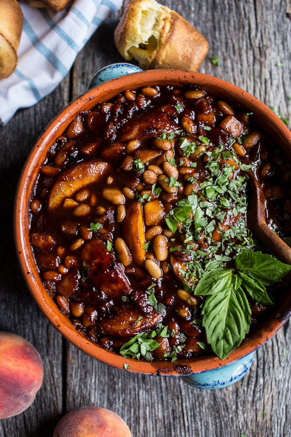 Bourbon Peach BBQ Baked Beans | Half Baked Harvest - 10 Party Ready Fourth of July Recipes