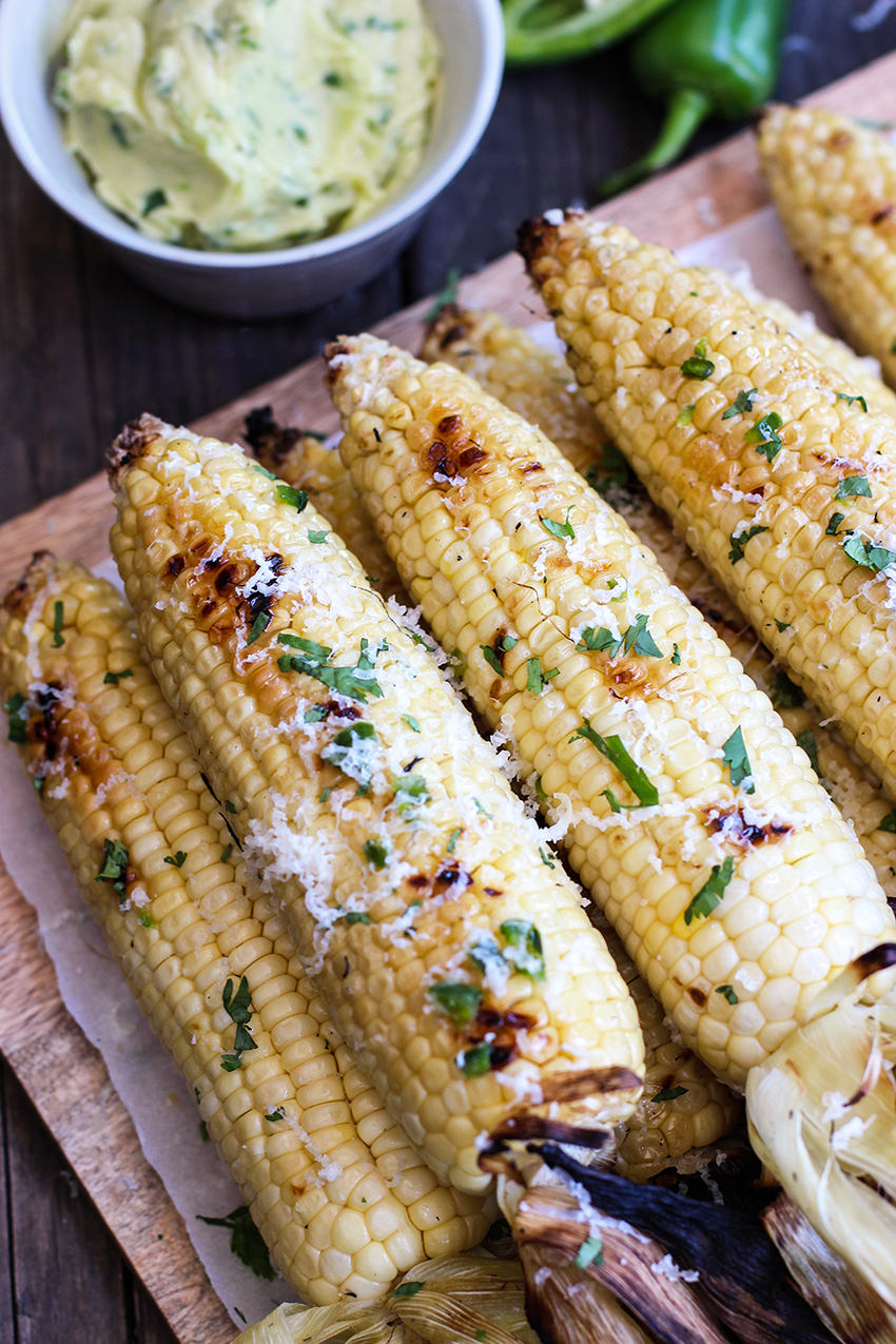 Grilled Corn With Jalapeño Honey Butter | Honestly Yum - 10 Party Ready Fourth of July Recipes